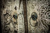 picture of oyster shell  - Traditional Thai style church door art decorated with pieces oyster shell - JPG