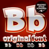 picture of letter b  - Vector set of original glossy white alphabet with gold border - JPG