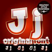 pic of letter j  - Vector set of original glossy white alphabet with gold border - JPG