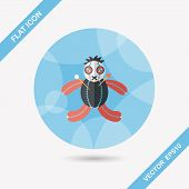 pic of voodoo  - Halloween Voodoo Doll Flat Icon With Long Shadow - JPG