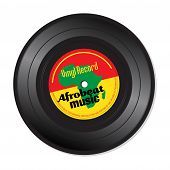 stock photo of jukebox  - Isolated vinyl record with the text Afrobeat music written on the record - JPG