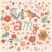 stock photo of ami  - Bright card with beautiful name Amy in poppy flowers - JPG
