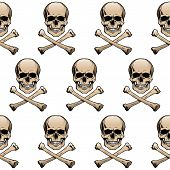 stock photo of skull crossbones  - Seamless wallpaper background with colored skulls and crossbones - JPG
