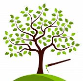 pic of hoe  - vector tree and hoe isolated on white background - JPG