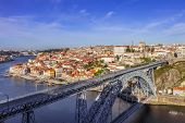 pic of dom  - View of the iconic Dom Luis I bridge crossing the Douro River - JPG