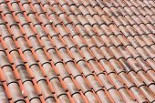 picture of red roof tile  - Closeup of many red clay roof tiles - JPG