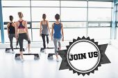 stock photo of step aerobics  - The word join us and four women stepping on boards against badge - JPG