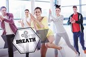 picture of breathing exercise  - The word breath and cheerful fitness class and instructor doing pilates exercise against hexagon - JPG