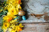stock photo of egg whites  - Easter time spring flowers easter eggs and easter bunny - JPG
