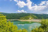 stock photo of hydro-electric  - Panoramic view of the hydro dam Macedonia - JPG