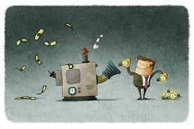 foto of transformation  - Businessman transforms ideas for money in a machine - JPG