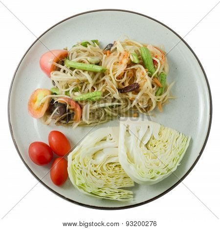 Papaya Salad Or Som Tum Isolated On White