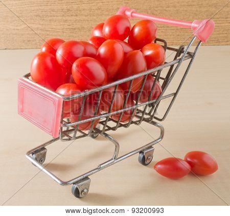 Grape Tomatoes On A Mini Shopping Cart