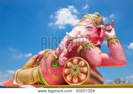 Beautiful Ganesh Statue On Blue Sky At Wat Saman Temple In Prachinburi Province Of Thailand, Is High