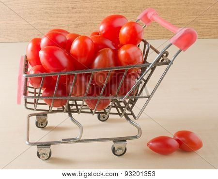 Ripe Grape Tomatoes On Small Shopping Cart