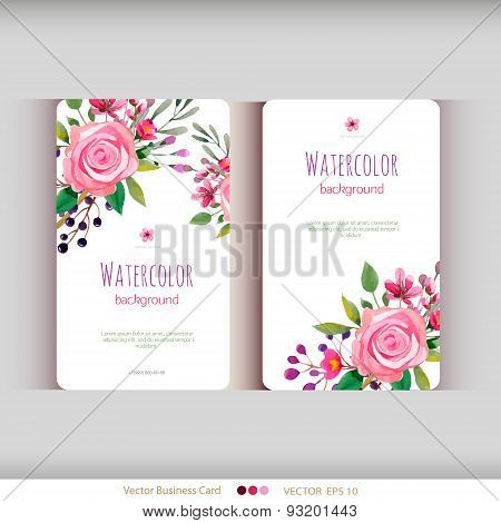 Set of two abstract watercolor cards. Watercolor flowers.Vector illustration