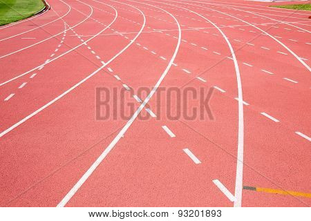 Red Treadmill At The Stadium With The Dotted Line And Curve Line