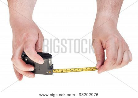 Man Hands With Tape Measure Isolated