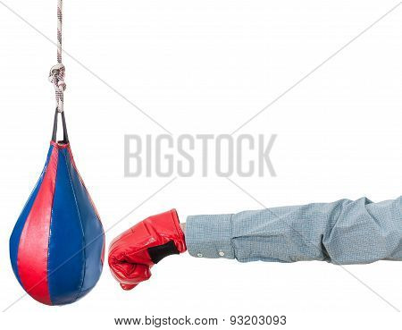 Worker With Boxing Glove Punches Punching Bag