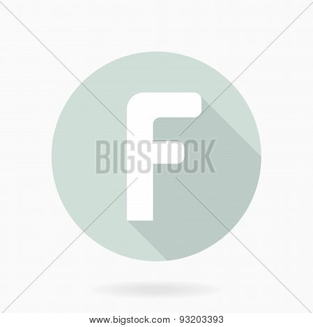Fine  Flat Icon With Letter F