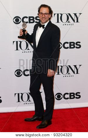 NEW YORK-JUN 7: Director Sam Gold holds the trophy at the American Theatre Wing's 69th Annual Tony Awards at Radio City Music Hall on June 7, 2015 in New York City.