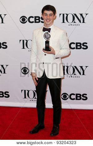 NEW YORK-JUN 7: Actor Alex Sharp holds the trophy at the American Theatre Wing's 69th Annual Tony Awards at Radio City Music Hall on June 7, 2015 in New York City.