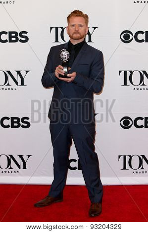 NEW YORK-JUN 7: Christopher Oram holds the trophy at the American Theatre Wing's 69th Annual Tony Awards at Radio City Music Hall on June 7, 2015 in New York City.