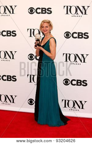 NEW YORK-JUN 7: Director Marianne Elliott holds the trophy for Best Direction of a Play at American Theatre Wing's 69th Annual Tony Awards at Radio City Music Hall on June 7, 2015 in New York City.