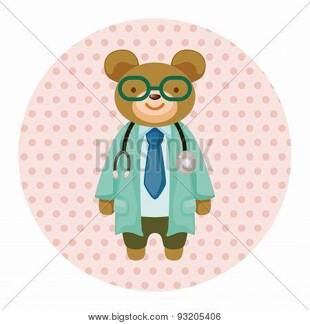 Animal Bear Doctor Cartoon Theme Elements