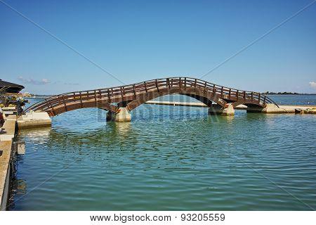 Bridge over the sea in the Lefkada town