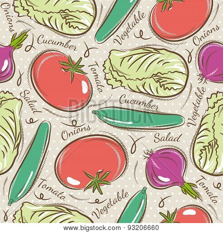 Pattern With Tomato, Cucumber, Salad And Onions