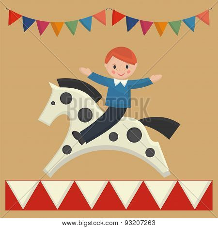 Happy Boy Sitting On  Horse On Merry-go-round
