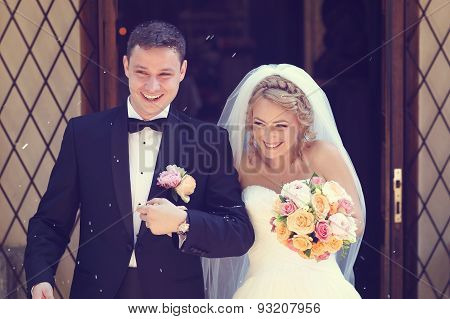 Happy bridal couple