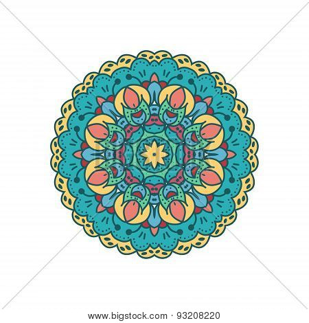 Mandala ornament with retro colors.