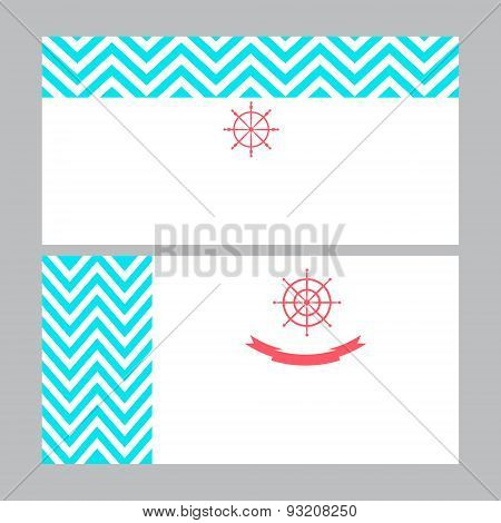 Business card template in nautical marine style.