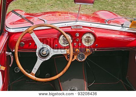 Interior Of A Vintage Car Fiat Siata Amica (1952)
