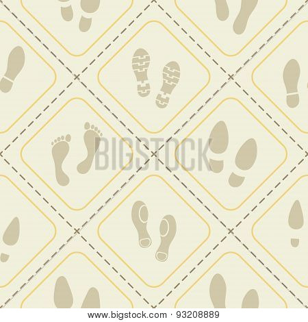 Seamless background with footprints and shoeprint icons