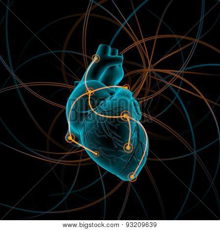 Illustration of heart with impulses, on the black background