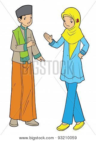 Indonesian muslim boy and girl