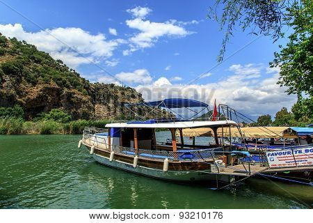 Boat On Dalyan Coastline