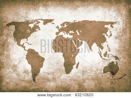 Sepia Grunge World Map