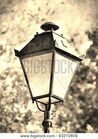 Antique Street Lamp In Vintage Style