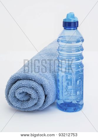 Blue Water Bottle And Towel