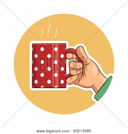 Tea cup in hand. Eps10 vector icon illustration. Isolated on white background