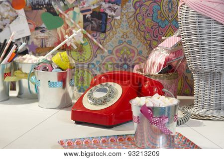 Vintage Red Telephone In A Teen Ager Girl Room
