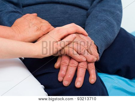 Senior Man With Serious Disease Being Supported