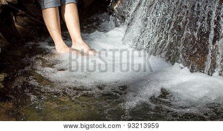 feet in a waterfall