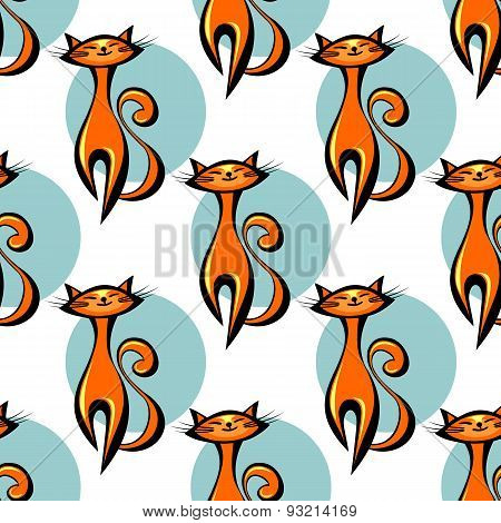 red cats seamless pattern