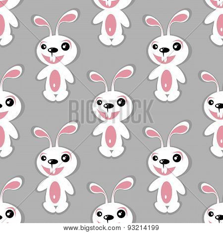 white rabbits seamless pattern