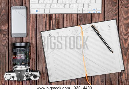Notebook Wit Tablet On Wooden Table, Top View